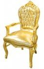 Fauteuil de style Baroque Rococo tissu simili cuir doré et bois doré