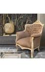 """Кресло """"Княжеский"""" в стиле барокко темно-серый бархат и бежевый патиной дерево"""