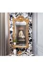 Grand miroir rectangulaire baroque doré