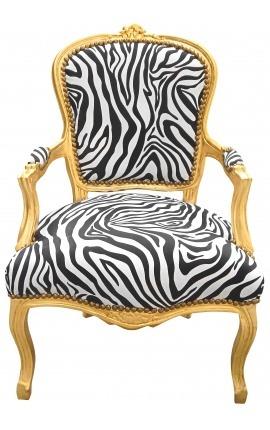 Барокко кресло Louis XV стиль позолота дерева и ткани зебры