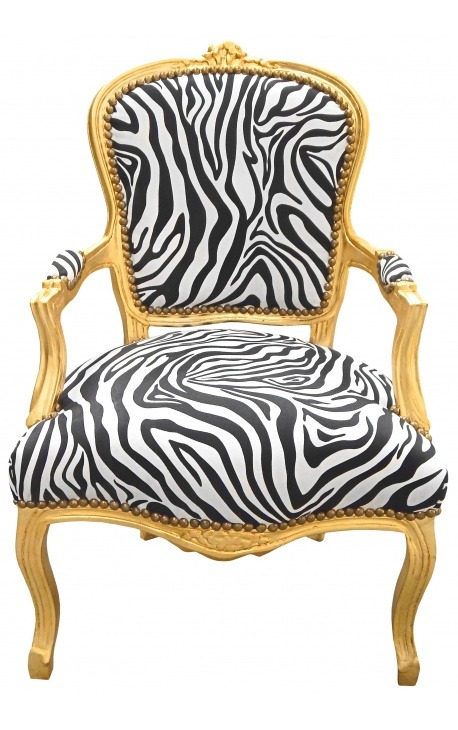 Baroque armchair of Louis XV style zebra and gold wood