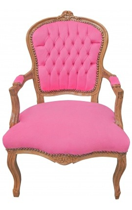 Armchair of Louis XV style pink velvet and natural wood color