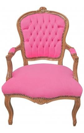 Fauteuil Louis XV de style baroque velours rose et bois naturel