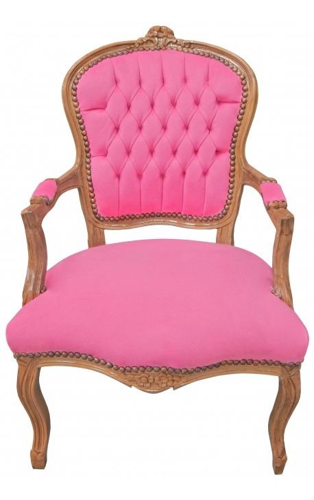 Fauteuil de style Louis XV velours rose et bois naturel