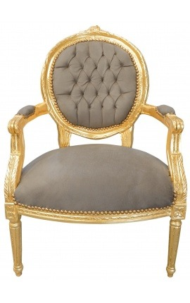 Baroque armchair Louis XVI style taupe velvet and gold wood