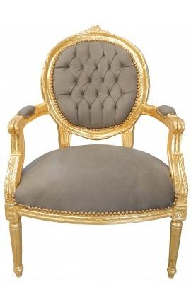 Fauteuil Louis XVI de style baroque velours taupe et bois doré