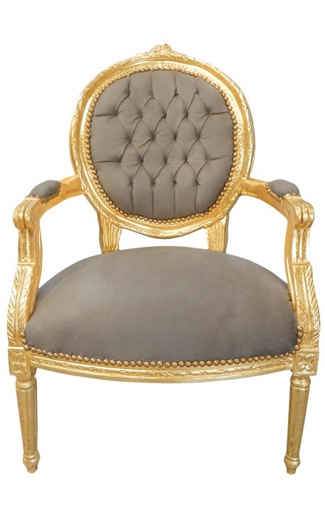 Baroque armchair Louis XVI style medallion taupe texture and gold wood.