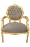 Барокко кресло в стиле Louis XVI ткани темно-серый и древесины Золо