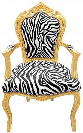 Armchair Baroque Rococo style zebra printed fabric and gold wood