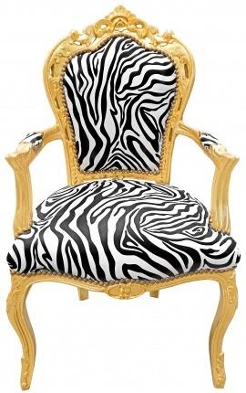 Барокко Рококо стиль стул зебры ткани и позолоченного дерева