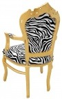 Armchair Baroque Rococo style zebra and gold wood