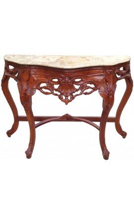 Console de style baroque bois teinté acajou et marbre beige