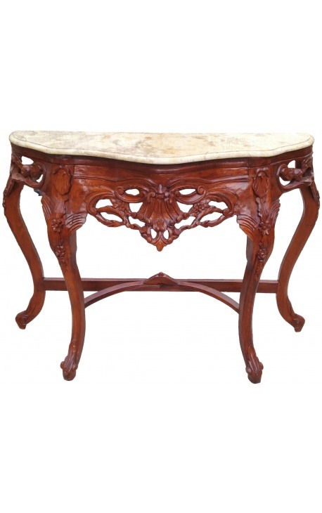 Console Baroque cherry wood and beige marble