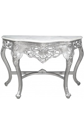 Baroque console with silvered wood and white marble top