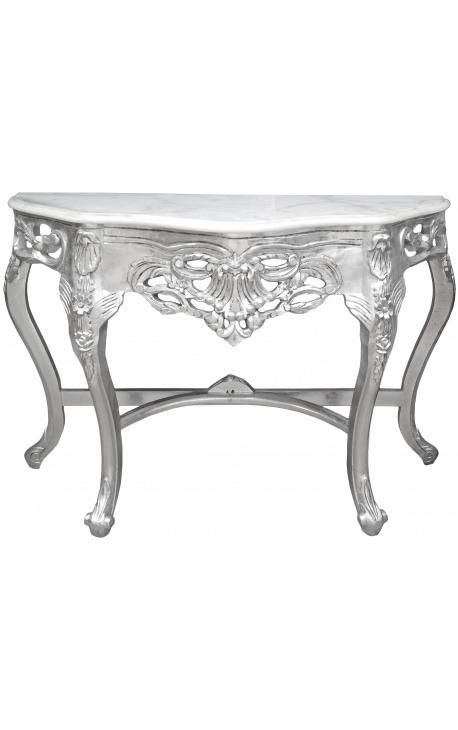 Console de style baroque en bois argenté et marbre blanc