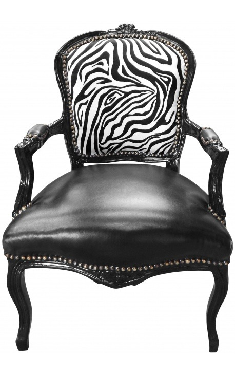 Fauteuil baroque de style Louis XV simili cuir noir & zèbre et bois noir