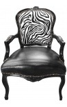 Baroque armchair of Louis XV style zebra and black leatherette with glossy black wood