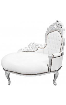 Méridienne baroque tissu simili cuir blanc et bois argent
