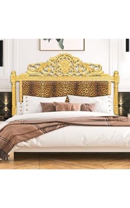 Tête de lit Baroque tissu léopard et en bois doré
