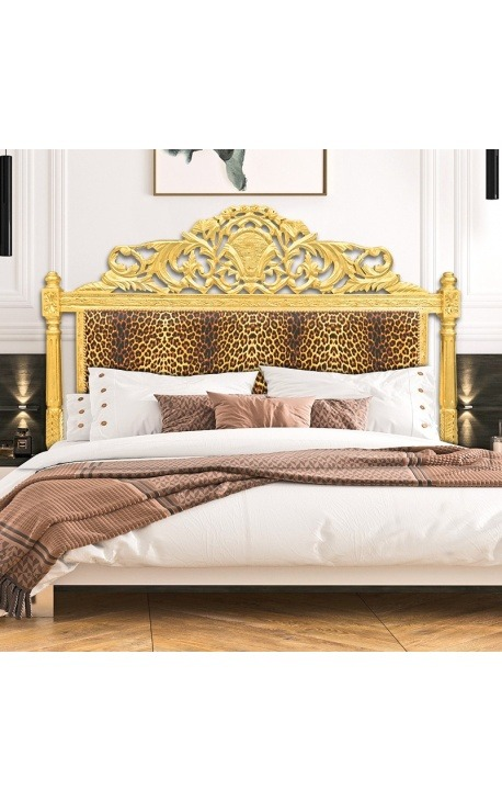 Baroque bed headboard leopard fabric and gold wood