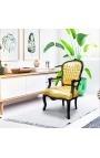 Барокко кресло Louis XV стиль искусственного золота кожа и черное дерево