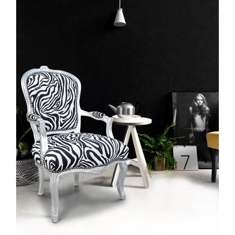 Wondrous Baroque Armchair Of Style Louis Xv Zebra And Silvered Wood Short Links Chair Design For Home Short Linksinfo