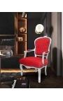 Fauteuil baroque de style Louis XV rouge et bois argent