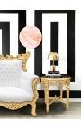 Круглый черный мраморный столик в стиле Louis XVI с позолотой