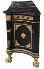 Large French Empire style dresser glossy black with black marble