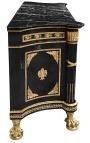 Enorme buffet de style Empire noir avec bronzes dorés et marbre noir