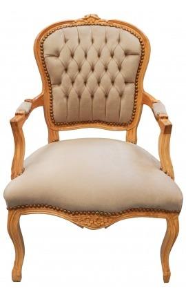 Fauteuil Louis XV de style baroque velours taupe et bois naturel