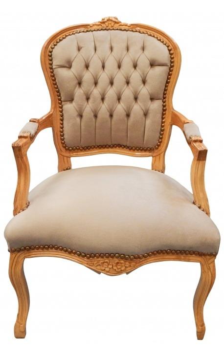 Fauteuil de style Louis XV velours taupe et bois naturel