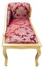 "Baroque chaise longue red satin fabric ""Gobelins"" pattern and gold wood"