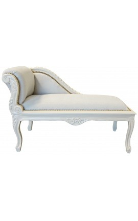 Louis XV chaise longue beige velvet and beige wood