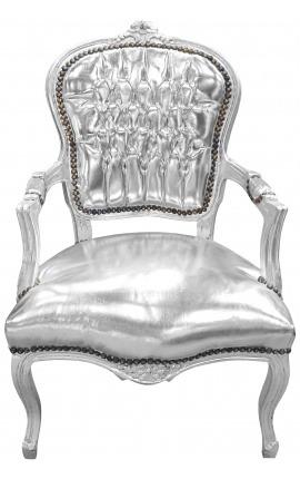 Fauteuil Louis XV de style baroque simili cuir argent et bois argent