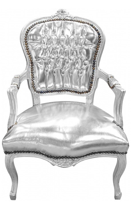Baroque armchair of style Louis XV silver faux leather and silver wood