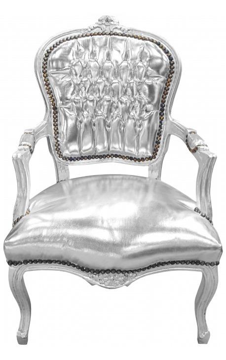 Fauteuil baroque de style Louis XV simili cuir argent et bois argent