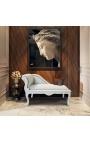 Méridienne de style Louis XV tissu velours beige et bois laqué beige