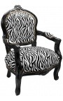 Baroque armchair for child zebra false skin leather and black lacquered wood