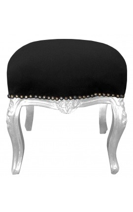 Baroque footrest Louis XV black fabric and silver wood
