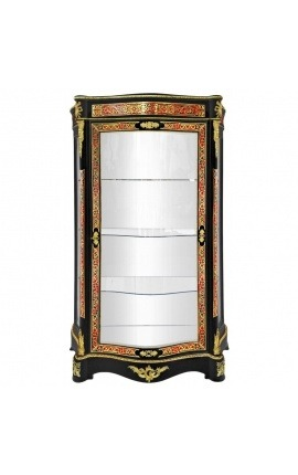 Boulle marquetry display cabinet with the style of Napoleon III black with bronze