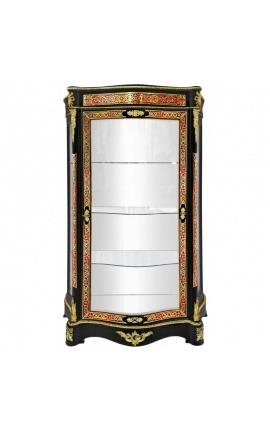 Vitrine avec marqueterie Boulle de style Napoléon III noire avec bronzes