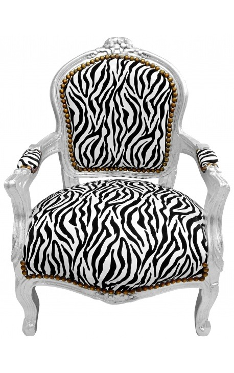 Baroque armchair for child zebra false skin leather and silver wood
