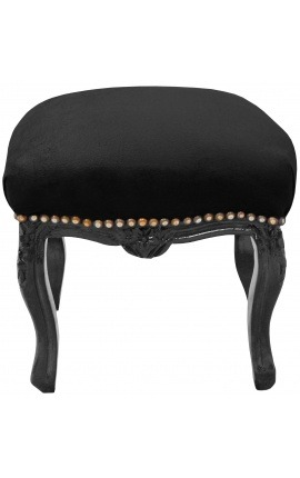 Repose-pied baroque de style Louis XV noir et bois noir