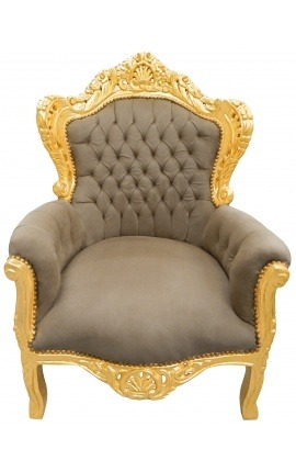 Big baroque style armchair taupe velvet and gold wood