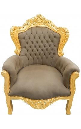Большой стиль ткани стул барокко серо-коричневый мягкий и позолоченн