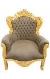 Grand fauteuil de style baroque tissu taupe capitonné et bois doré