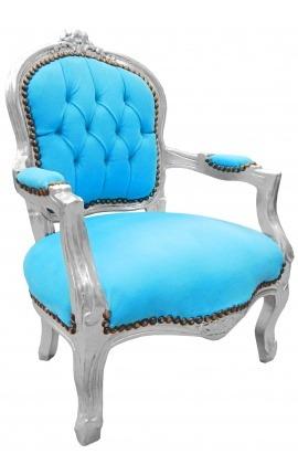 Fauteuil baroque enfant velours turquoise et bois argent