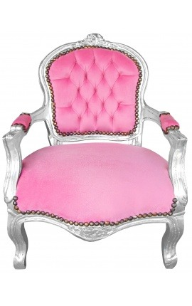 Armchair for child pink velvet and silver wood