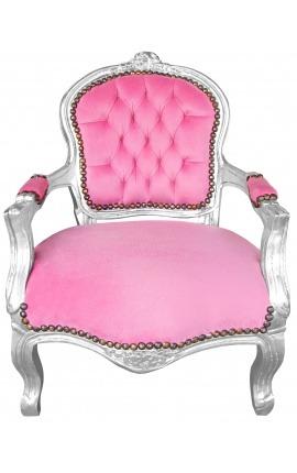 Стул барокко ребенок розовый бархат и серебро дерево